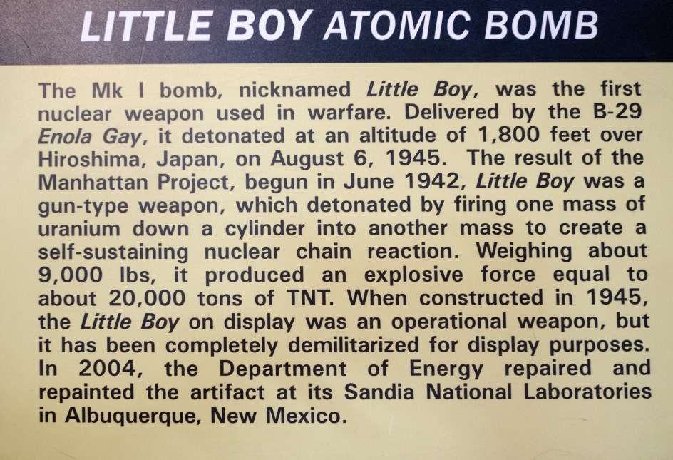 About the Little Boy Atom Bomb at the National Museum of the US Air Force.