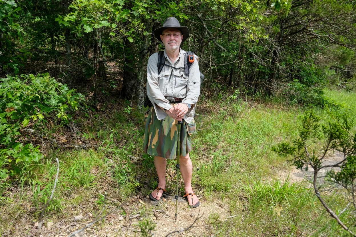 What the well-dressed English hiker wears abroad - I'm not going to win any fashion awards. It's just as well I didn't meet any people on the trail. Day Two, Hercules Glades, Pees Hollow Trail. Copyright © 2020 Gary Allman, all rights reserved.