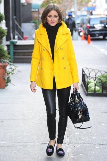 Casual cuidado casaco amarelo