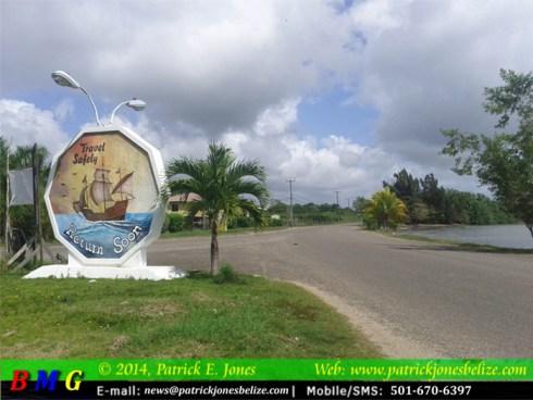 Entrance to Punta Gorda Town (Monday, February 3, 2014)