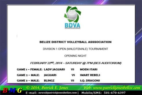 Volleyball Schedule (Belize district tournament)