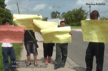 Protestors in Belmopan