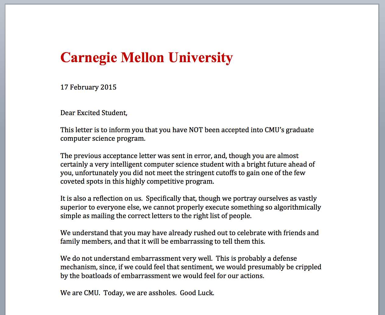 letter sent by cmu after mistakenly sending acceptance letters to oops