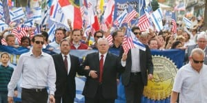 A Christians United for Israel (CUFI) solidarity march in Jerusalem in 2010. In center in front the banner, holding American and Israeli flags, is CUFI founder Pastor John Hagee. (Photo: CUFI)