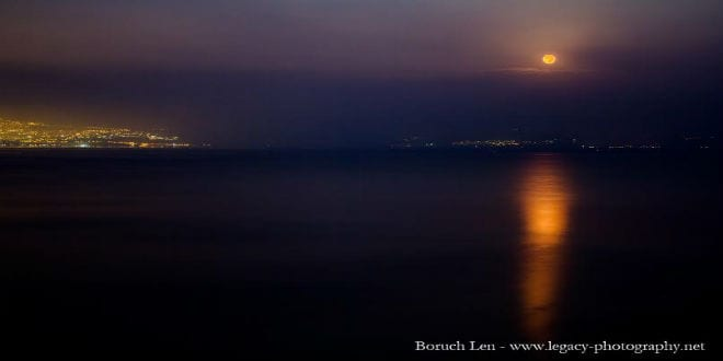 Blood Moon seen over the Kinneret in Israel. (Photo: Baruch Len)