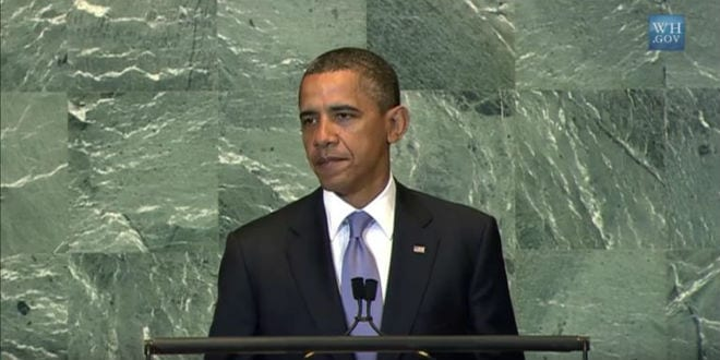Obama addresses the UN General Assembly. (Photo: screenshot)