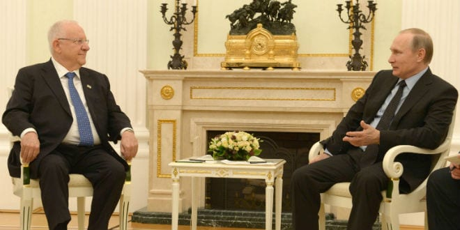 President Reuven Rivlin met with Russian President Vladimir Putin in Moscow on March 16, 2016. (Photo: Mark Neyman/Government Press Office)