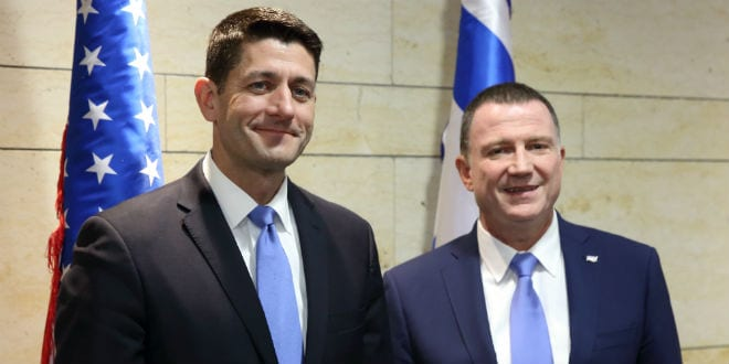 House Speaker Paul Ryan and Congressmen Meeting MK Edelstein at Knesset 4.4.16 (Photo: Hillel Maeir/TPS)