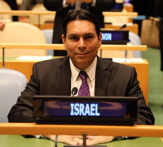 Danny Danon sits at the United Nations in New York (Photo: Official Danny Danon Facebook page)