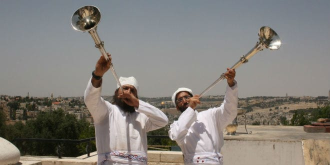 Jewish priests (Kohanim) blow silver trumpets as in the days of the Temple. (Adam Propp)