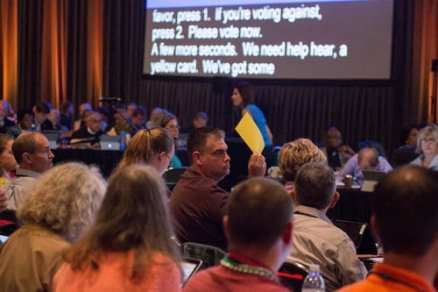 ELCA members vote at the triennial assembly in New Orleans, La. held Aug. 8-13. (ELCA)