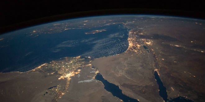 Nighttime View of Northern Egypt and the Sinai Peninsula  from space. (NASA)