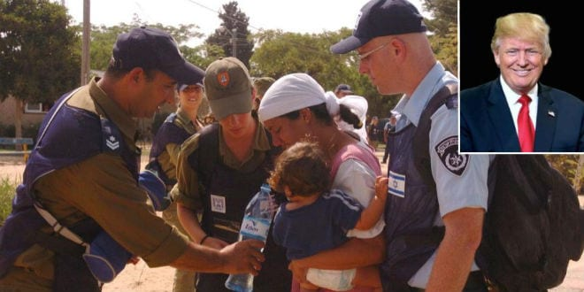 The evacuation of the former Gaza Jewish community of Morag in 2005 (IDF). Inset: Donald Trump