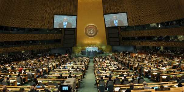 Prime Minister Netanyahu addresses the United Nations General Assembly in New York City, September 2011. (Avi Ohayon/GPO)