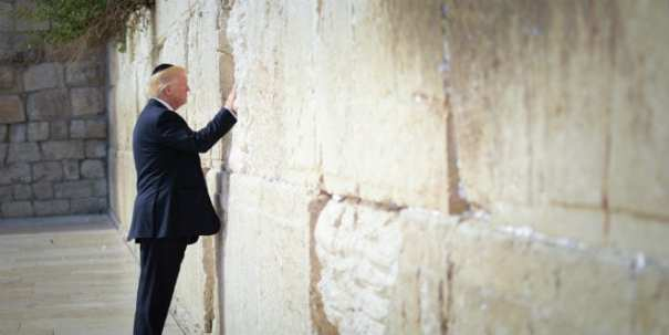 US President Donald Trump prays at the Western Wall in the Old City of Jerusalem on May 22, 2017. (Mendy Hechtman/FLASH90)