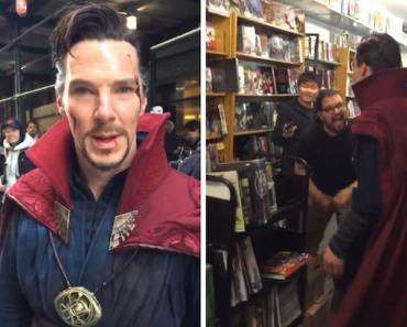 Benedict Cumberbatch Walks into Comic Store as Doctor Strange