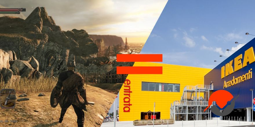 A picture of Dark Souls and an Ikea location, both instances of strategic design in action