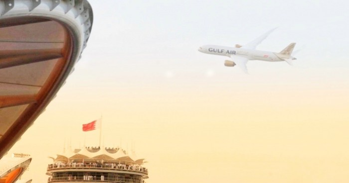 Gulf Air showcases new livery with Dreamliner flypast during Bahrain Grand Prix 1
