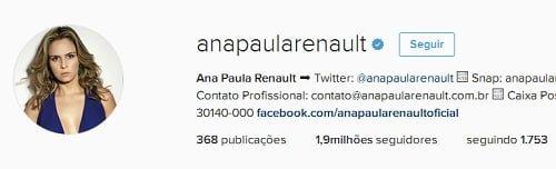Ana Paula Renault ganha selo de autenticação no Instagram (Reprodução/Instagram)