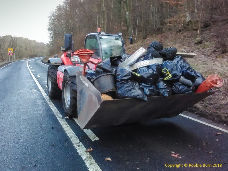 litter rubbish from A697 Powburn