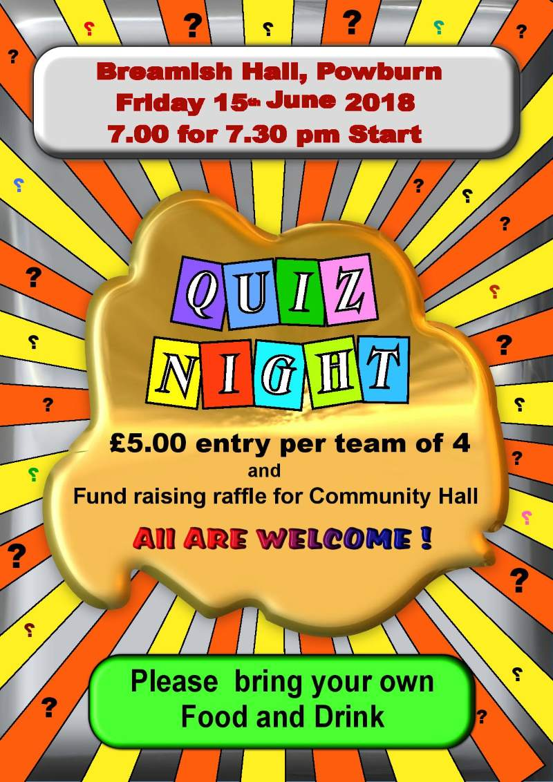 Quiz Night Jun 2018 Breamish Hall poster
