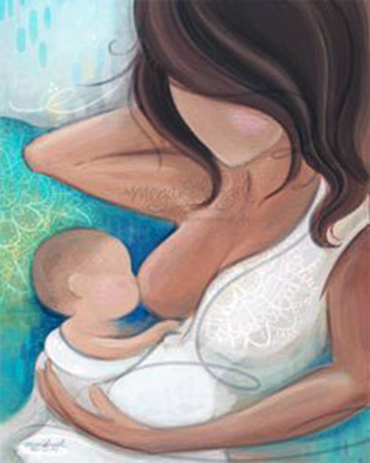Breastfeeding art a mom breastfeeds her baby