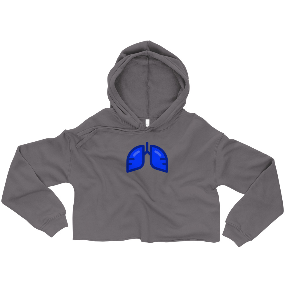 Neon Blue Icon Crop Hoodie