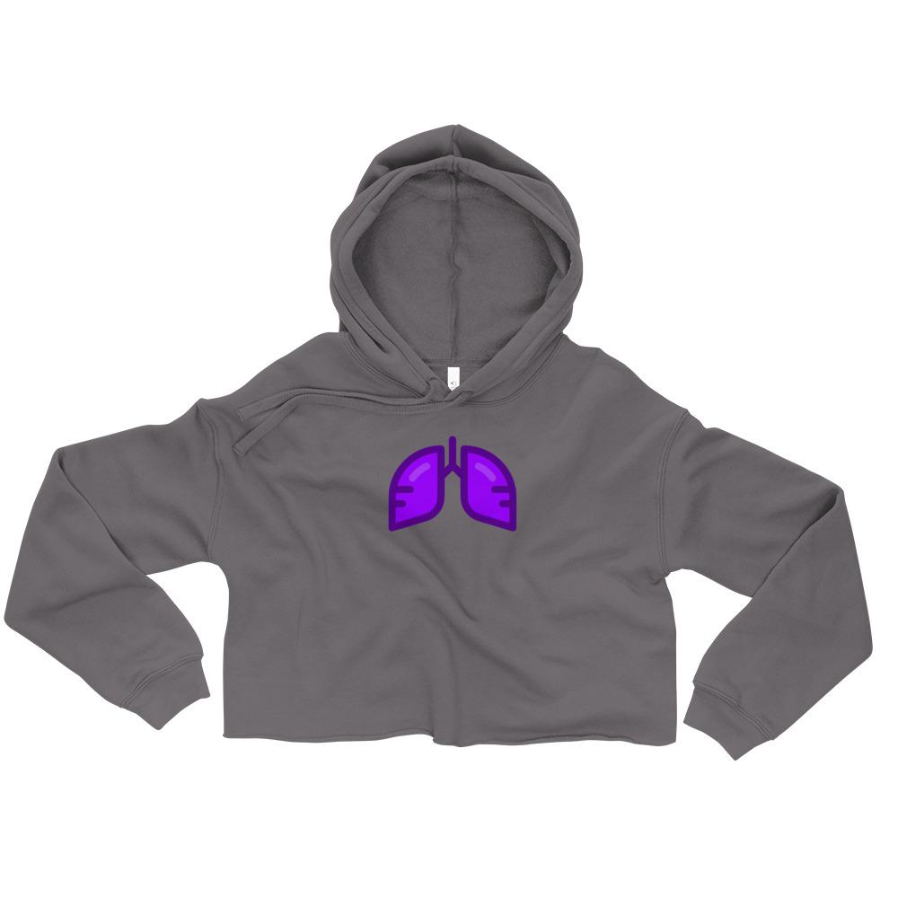 Neon Purple Icon Crop Hoodie