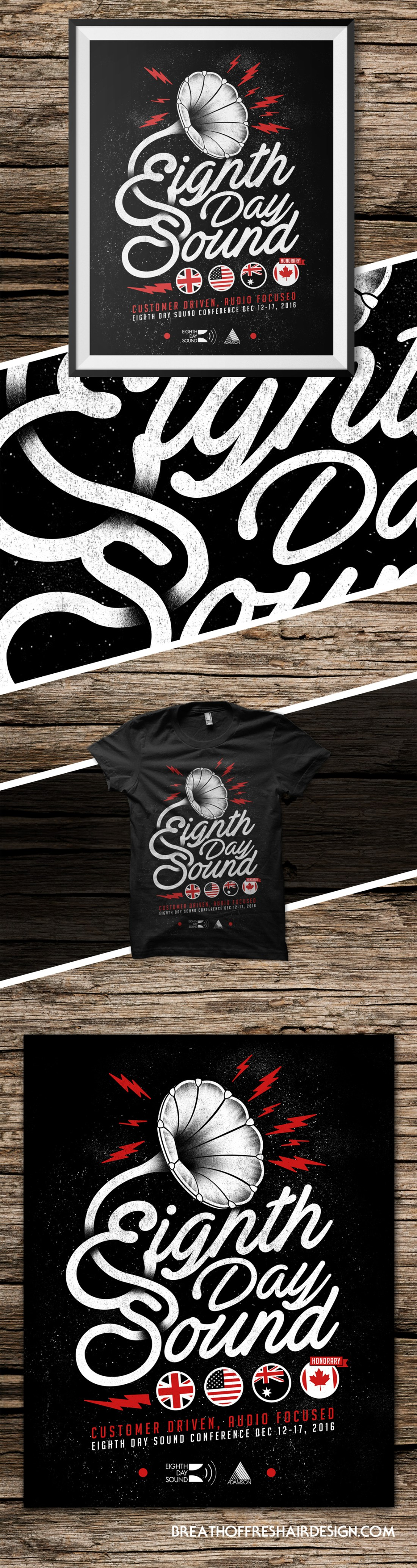 8th Day Sound, Tshirt Design, Illustration, Touring, Poster, Words, Sound, TExt, Font, Design, Handdrawn Font