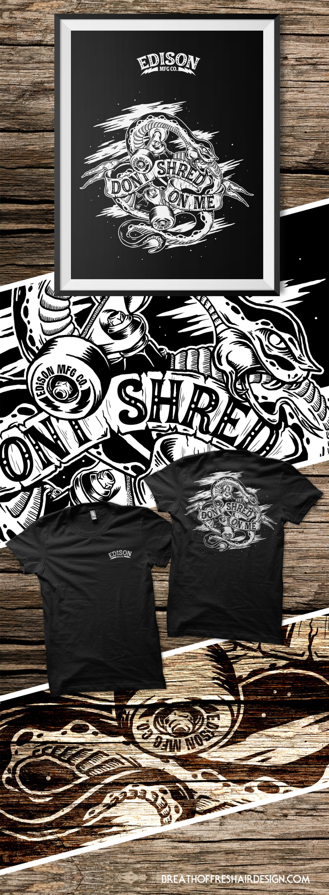 Edison MFG, Don't Shred On Me, Illustration, Graphic Design, Toronto, Snake, Skateboariding, T-shirt, Graphic, trucks, wheels, art