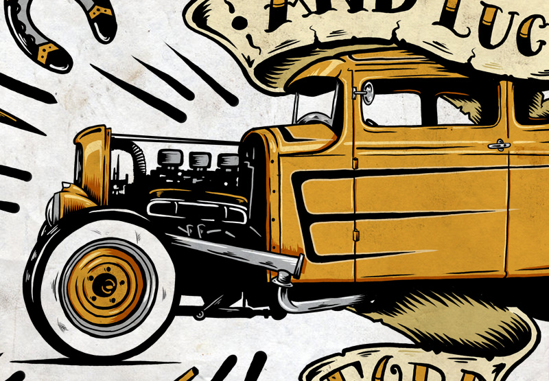 Ford, Hot Rod, Steve Caballero, Illustration, Kustom, Gasoline, Graphic Design, Spark Plug, Design, Toronto