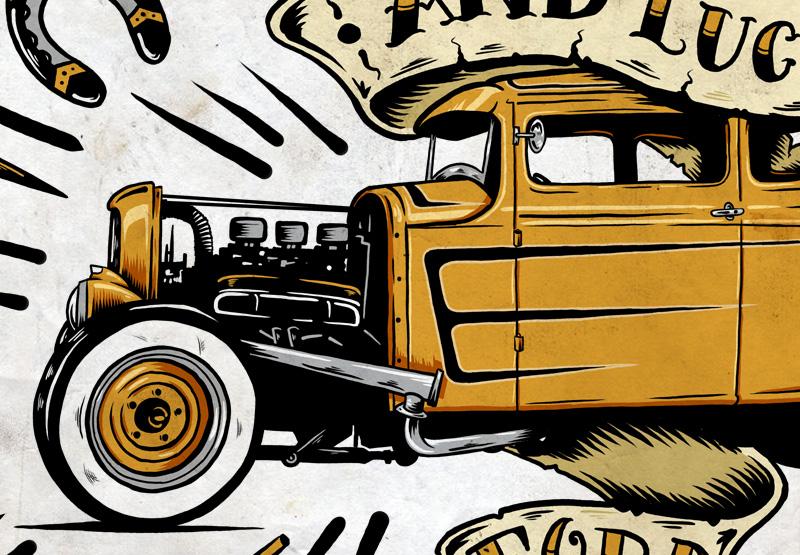 Ford, Hot Rod, Steve Caballero, Illustration, Kustom, Gasoline, Graphic Design, Spark Plug, Design, Toronto