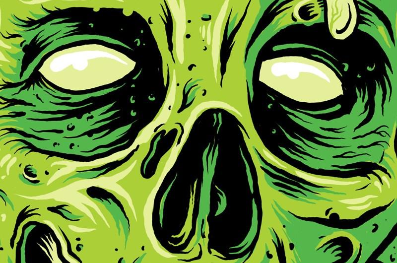 Rue Morgue, Magazine, Zombie, Horror, Death, Illustration, TShirt Design, Graphic Design, Toronto, Skull, Brains, Breath Of fresh Air Design
