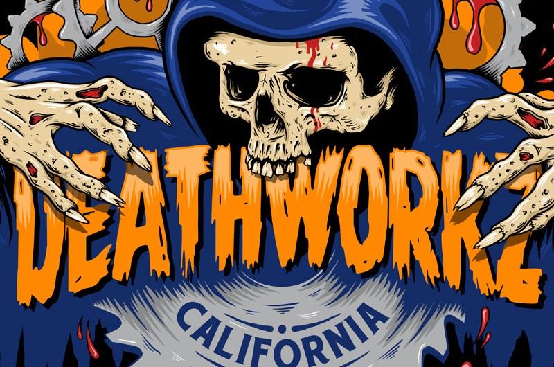 Deathworkz, Haunted House, Logo Design, Illustration, Skull, Grim Reaper, Logo, Graphic Design, California, Halloween, Haunt, Breath Of Fresh Air Design, Toronto