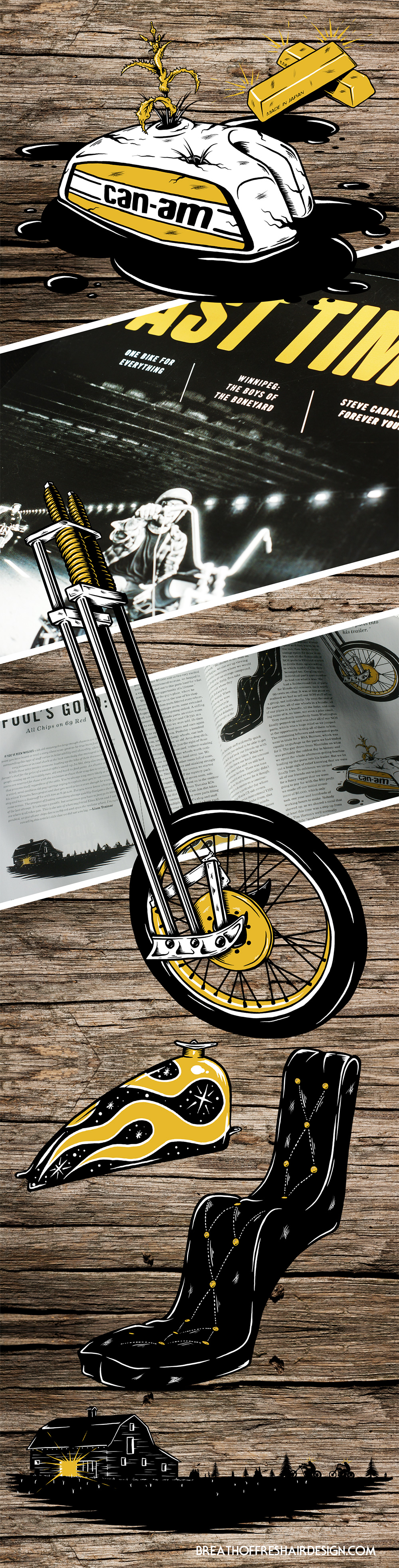 Fools Gold, Fast Times Magazine, Illustration, Motorcycles, Chopper, Springer Fork, Front End, Tire, Gas Tank, Drawing, Editorial Design, Graphic Design, Magazine