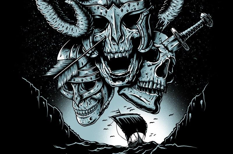 Metal Hammer, Paradise Festival, Metal Fesstival, Tshirt Design, Tee Design, Graphic Design, Testament, Death Angel, Kreator, Powerwolf, Metal Hammer, Heavy Metal Music, Art, Illustration, Viking, Graphics, Death, Metal, Breath Of Fresh Air Design, Toronto, Sea, Skull, Viking Skull, Germany,