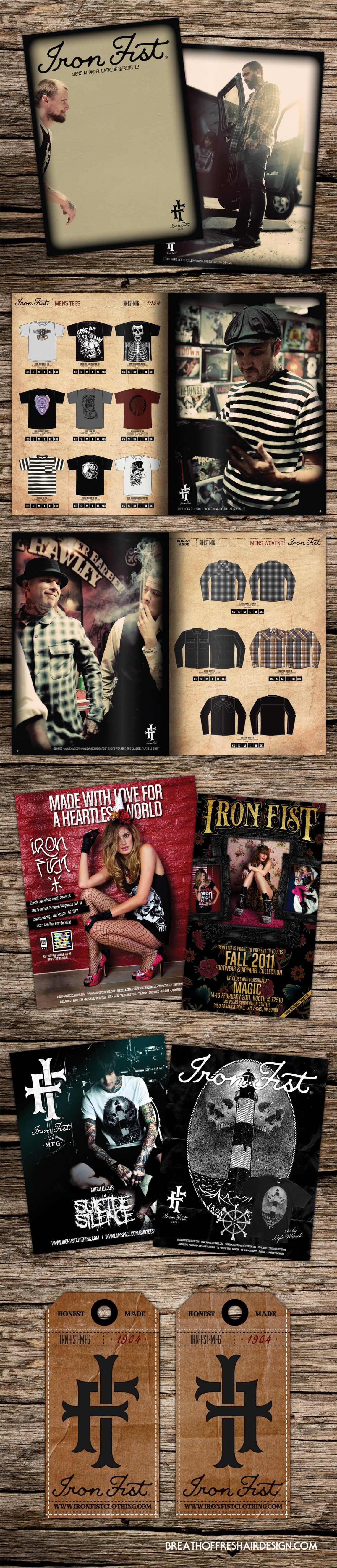 Iron Fist Clothing, Brand, Graphic Design, Catalog design, advertising, Suicide Silence, Heels, Layout, Editorial Design, Breath Of Fresh Air Design, Clothing, Tshirt Design