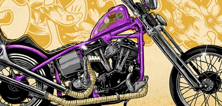 Hippie Freak, Illustration, Drawing, Art, Graphic Design, Chopper, Motorcycle, Harley Davidson, Hippie, Weed, Skeleton, LSD, Beers, Tittie Bar, Purple Haze, Custom Art, Custom Motorcycle, Toronto, Ontario, Canada, Illustrator, Graphic Designer, Digitial Illustration, Poster