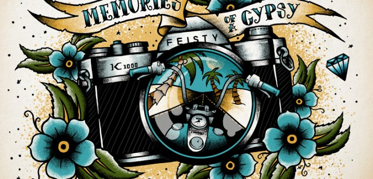 Memories Of A Gypsy, Tattoo Flash, Digital Illustration, Illustration, Camera, Pentax K1000, Motorcycle, Palm Trees, Graphic Design, Art, Illustrator, Toronto, Tattoo, Flowers, Banner, Diamonds, Custom Art, Flash