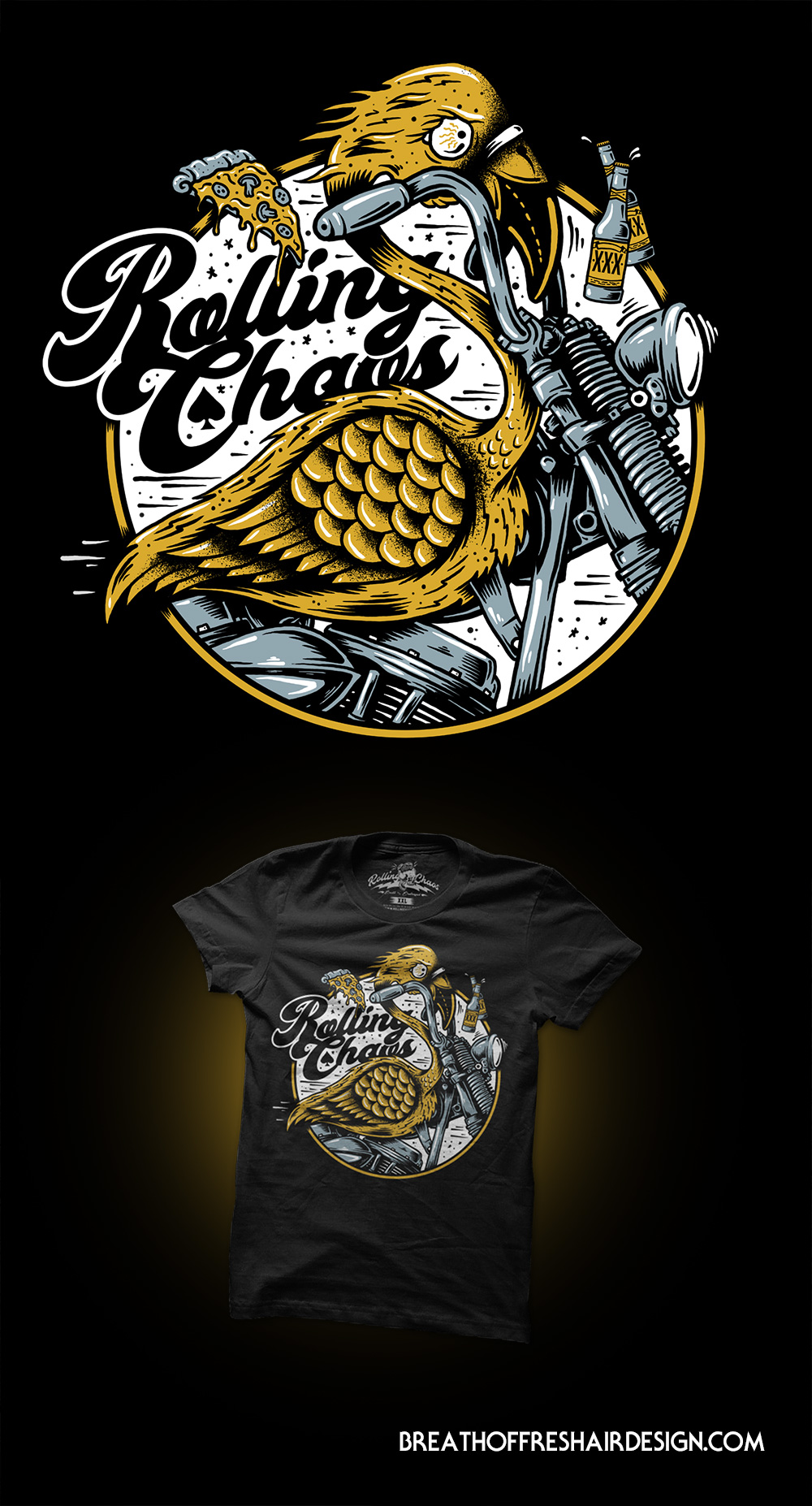 Summer Livin, Rolling Chaos, Flamingo, Pizza, Beer, Chopper, Motorcycle, Summer, Two Wheels, Bike, Clothing, Brand, Toronto, Ontario, Canada, Breath Of Fresh Air Design, Illustration, Design, Art, Kustom Art, Cusstom, Booze, Drawing, Graphic Design, Illustrator, Graphic Designer