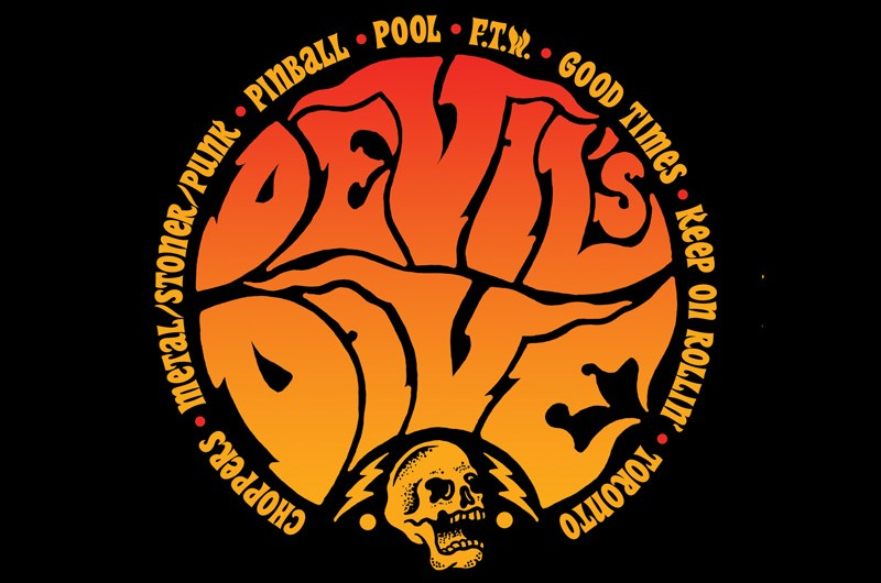 The Devil's Dive, Devils Dive, Choppers, Illustration, Logo Design, 70's choppers, rock-n-roll, punk rock, stoner rock, movies, ride in, bike night, drawing, graphic design, skull, bolts, FTW, art, Toronto