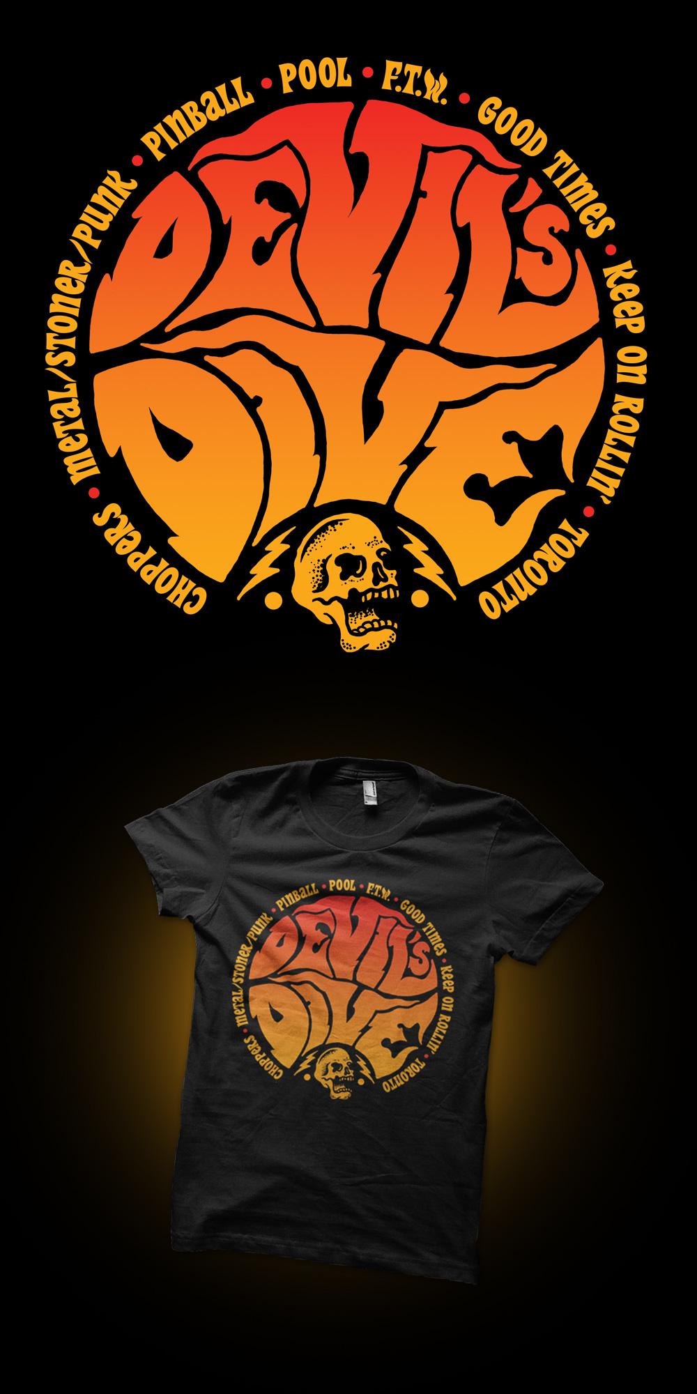 The Devil's Dive, Devils Dive, Choppers, Illustration, Logo Design, 70's choppers, rock-n-roll, punk rock, stoner rock, movies, ride in, bike night, drawing, graphic design, skull, bolts, FTW, art, Toronto