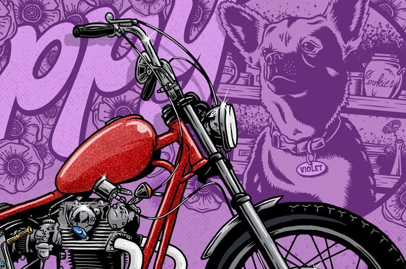 Poppy, Emma, Lone Wold and Co, Illustration, Violent, Chopper, Yamaha, XS650, Dog, Purple, Graphic Design, Breath Of fresh Air Design, Art, Motorcycle Art, Kustom Art, FTW, Speed, Digital Illustration, Illustrator