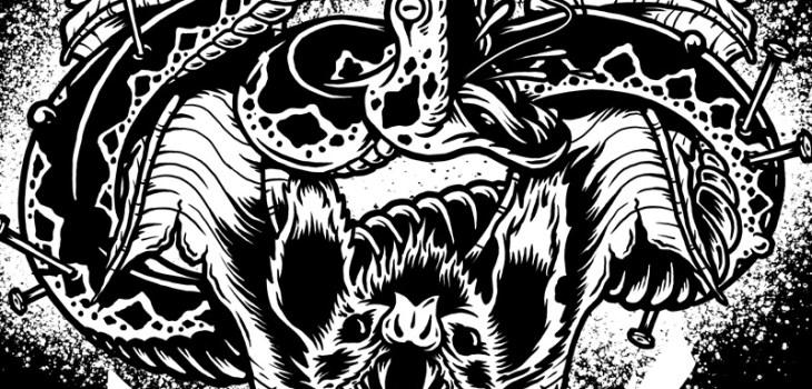 Cancer Bats, Graphic Design, Illustration, Hardcore, Toronto Hardcore, Snake, Bat, Wings, T-Shirt, Apparel, Punk Rock, Toronto Illustrator, Breath Of Fresh Air Design