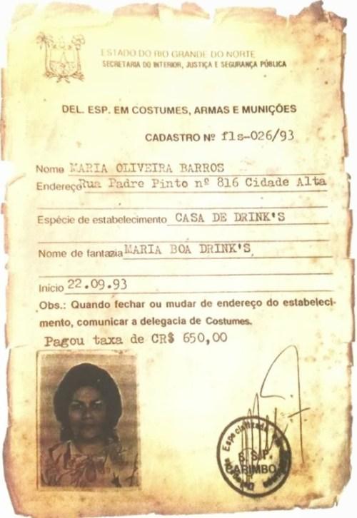 Registro da atividade da casa de Maria Boa, quatro anos antes de sua morte