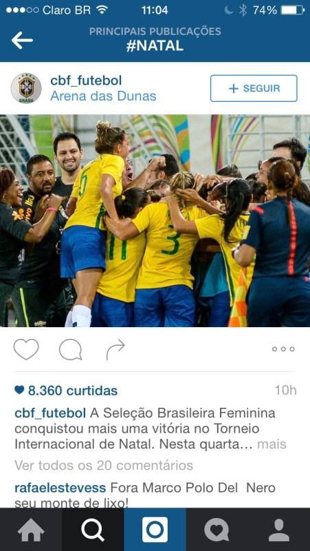 Uma das imagens de Natal postadas pelo perfil da CBF sobre o torneio de futebol feminino que acontece na cidade