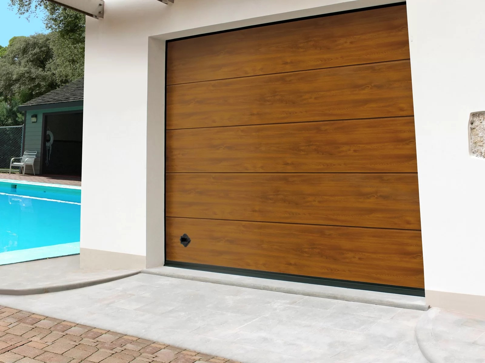 Portone sezionale da garage ARES - Simil legno quercia dorata