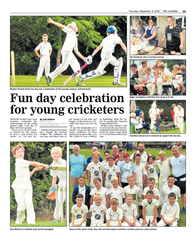 Evesham Journal coverage of junior cricket fun day
