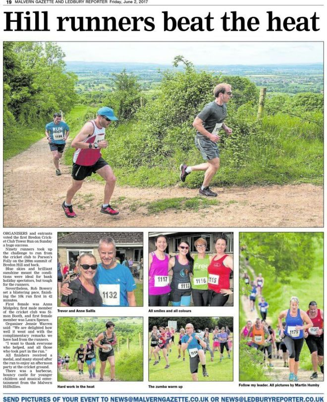 Bredon Cricket Club Tower Run 2017 press coverage: Malvern Gazette