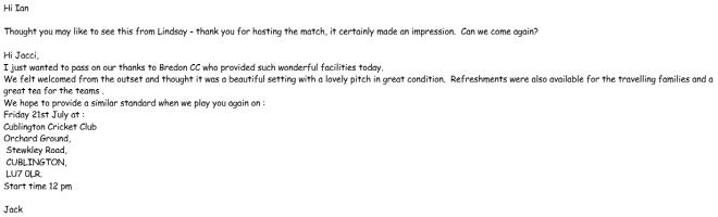 Jacci Hunt's praise for Bredon Cricket Club